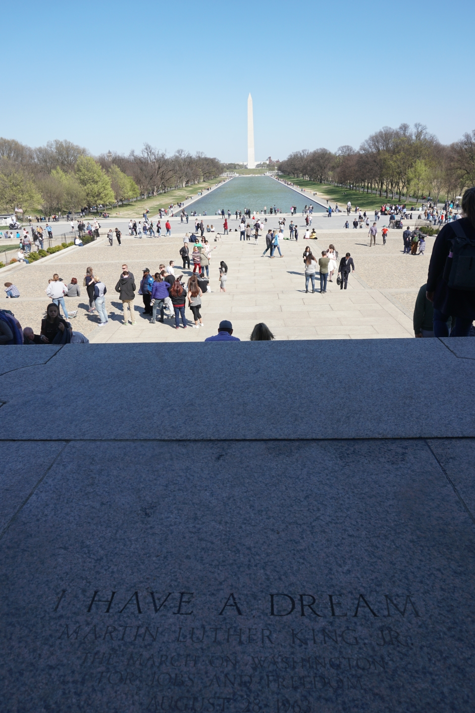In front of the Lincoln Memorial